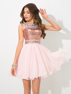 Shining A-Line Sheer Neck Cut Chiffon Short Dresses With Sequin