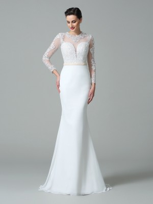 Delicate Mermaid Jewel Cut Satin Long Wedding Dresses With Lace