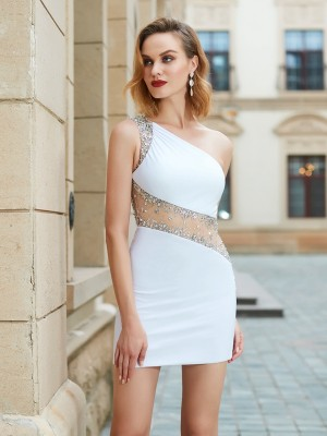 Pretty Sheath One-Shoulder Cut Net Short Dresses With Beading