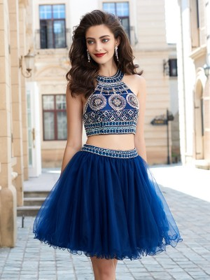 Sweet A-Line Jewel Cut Net Short Two Piece Dresses With Beading
