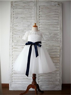 Exquisite A-Line Scoop Cut Tulle Long Flower Girl Dresses With Sash/Ribbon/Belt