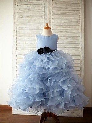 Stunning Ball Gown Scoop Cut Organza Long Flower Girl Dresses With Ruffles