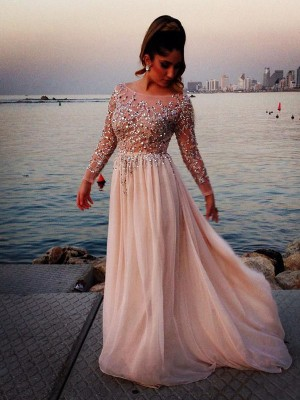 Exquisite A-Line Bateau Cut Chiffon Long Dresses With Beading