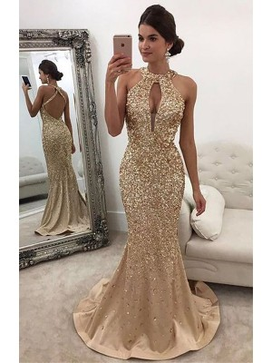 Glamorous Mermaid Halter Cut Satin Long Dresses With Sequin