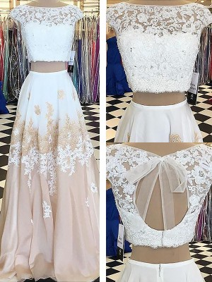 Exquisite A-Line Bateau Cut Chiffon Long Two Piece Dresses With Lace