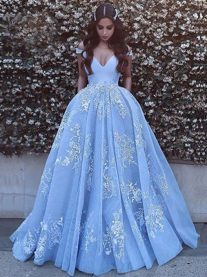 Modern Ball Gown Off-the-Shoulder Cut Tulle Long Dresses With Applique