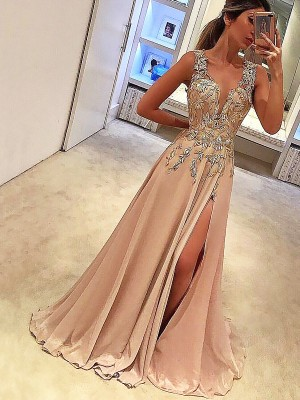Brilliant A-Line V-neck Cut Silk like Satin Long Dresses With Applique