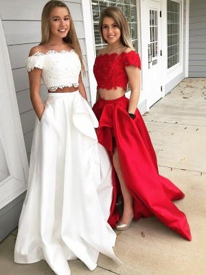 Nice A-Line Off-the-Shoulder Cut Satin Long Two Piece Dresses With Lace