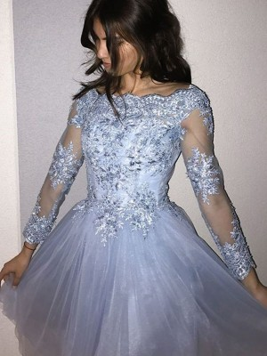 Glamorous A-Line Off-the-Shoulder Cut Tulle With Applique Short Dresses