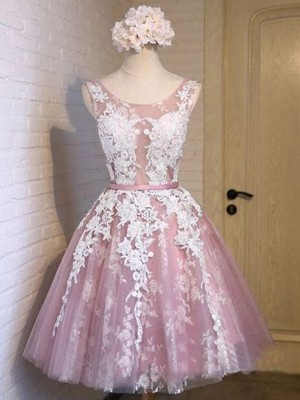 Awesome A-Line Scoop Cut Tulle With Applique Short Dresses