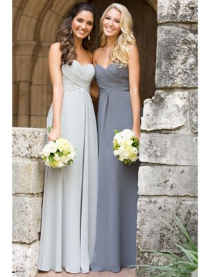 Sweet A-Line Sweetheart Cut Chiffon Long Bridesmaid Dresses With Ruched