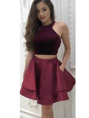 Popular A-Line Sleeveless Halter Cut Satin With Ruffles Two Piece ShortDresses