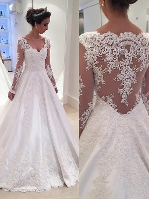 Popular Ball Gown V-neck Cut Satin Long Wedding Dresses With Lace