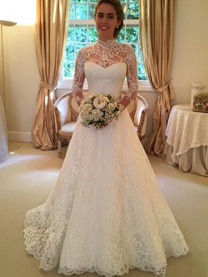 Modern Ball Gown High Neck Cut Lace Long Wedding Dresses With Lace