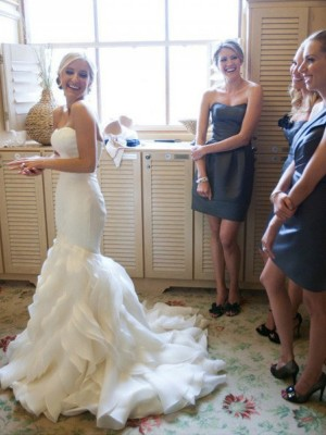 Awesome Mermaid Sweetheart Cut Satin Long Wedding Dresses With Lace