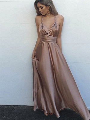 Special A-Line Spaghetti Straps Cut Silk like Satin Long Dresses With Sash/Ribbon/Belt