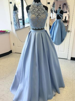 Romantic Ball Gown High Neck Cut Satin Long Two Piece Dresses With Applique