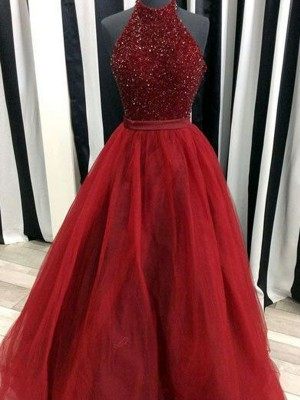 Modern Ball Gown High Neck Cut Organza Long Dresses With Beading