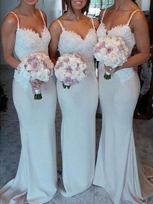 Gorgeous Sheath Sweetheart Cut Satin Long Bridesmaid Dresses With Lace