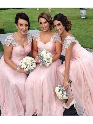 Graceful A-Line Sweetheart Cut Chiffon Long Bridesmaid Dresses With Beading