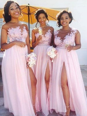 Awesome A-Line Scoop Cut Chiffon Long Bridesmaid Dresses With Applique