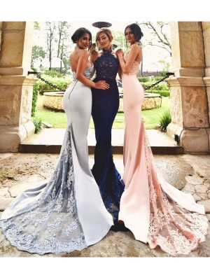 Attractive Mermaid Halter Cut Satin Long Bridesmaid Dresses With Lace