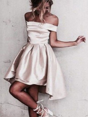Stylish A-Line Off-the-Shoulder Cut Satin Short Dresses With Ruffles