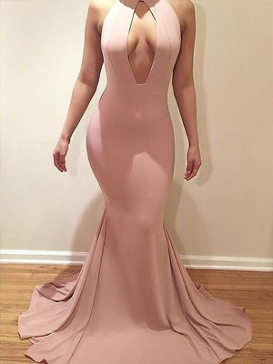 Lovely Mermaid Scoop Cut Jersey Long Plus Size Dresses With Ruffles