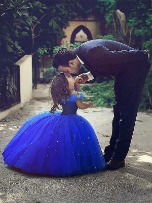 Lovely Ball Gown Off-the-Shoulder Cut Tulle Long Flower Girl Dresses With Crystal