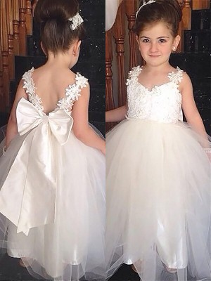 Brilliant Ball Gown Sweetheart Cut Tulle Long Flower Girl Dresses With Bowknot