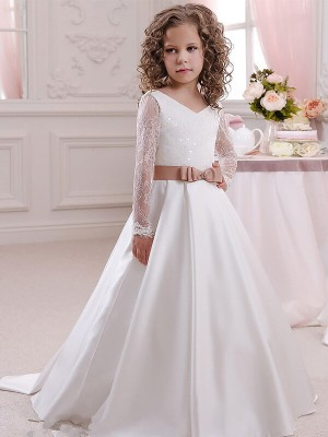 Graceful Ball Gown V-neck Cut Satin Long Flower Girl Dresses With Lace