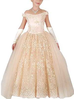 Dreamlike Ball Gown Off-the-Shoulder Cut Tulle Long Flower Girl Dresses With Applique