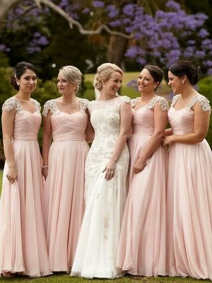 Dreamlike A-Line Square Cut Chiffon Long Bridesmaid Dresses With Beading