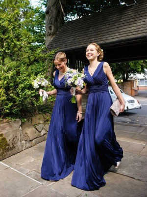 Brilliant A-Line V-neck Cut Chiffon Long Bridesmaid Dresses With Pleats