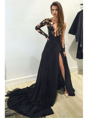 Awesome A-Line Bateau Cut Chiffon Long Dresses With Lace