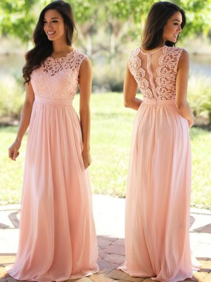 Stylish A-Line Scoop Cut Chiffon Long Dresses With Applique