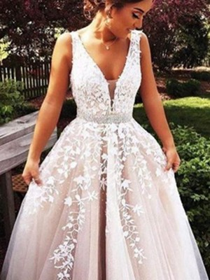 Special A-Line V-neck Cut Tulle Long Dresses With Applique
