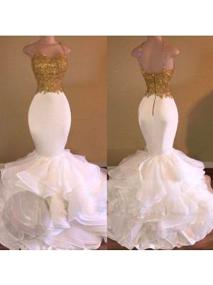 Lovely Mermaid Spaghetti Straps Cut Organza Long Dresses With Applique