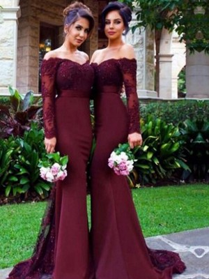 Romantic Mermaid Off-the-Shoulder Cut Satin Long Bridesmaid Dresses With Ruffles