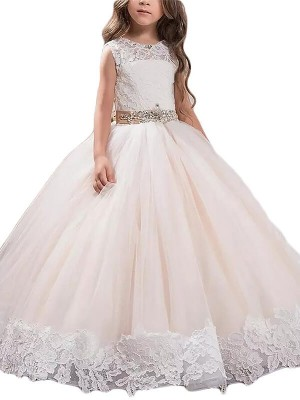 Charming Ball Gown Scoop Cut Tulle Long Flower Girl Dresses With Lace