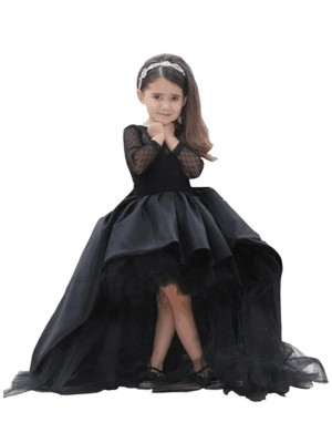 Shining Ball Gown Scoop Cut Satin Long Flower Girl Dresses With Sash/Ribbon/Belt