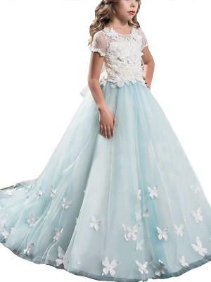Dreamlike A-Line Scoop Cut Tulle Long Flower Girl Dresses With Lace