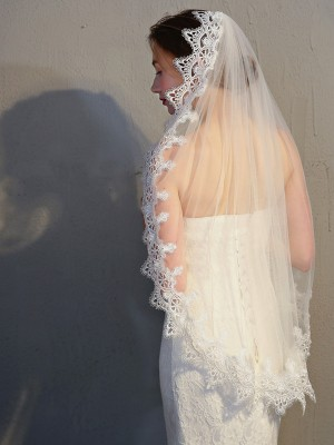 Fashion Tulle With Lace Wedding Veils