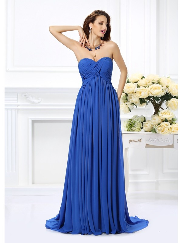 Soft A-Line Sweetheart Cut Chiffon Long Dresses With Ruched