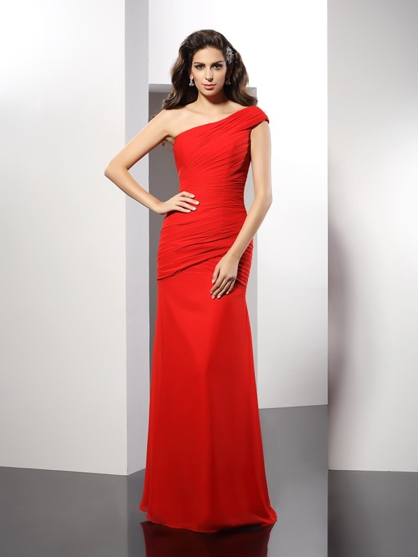 Hot Sheath One-Shoulder Cut Chiffon Long Dresses With Pleats