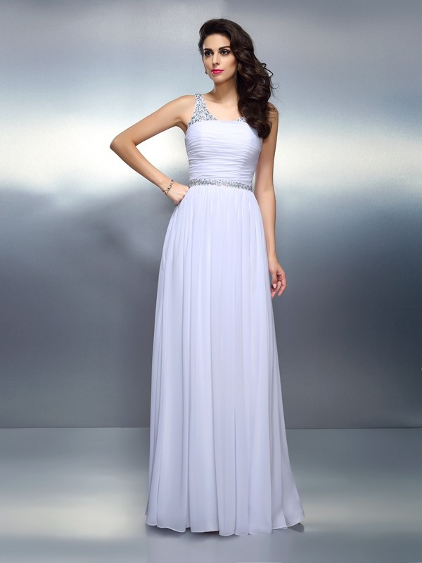 Charming A-Line Scoop Cut Chiffon Long Dresses With Beading