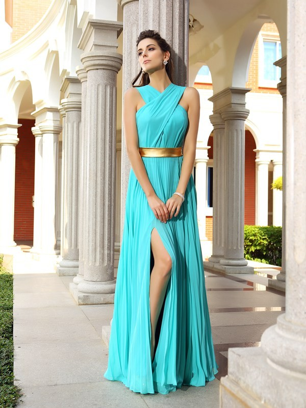 Graceful A-Line Halter Cut Chiffon Long Dresses With Pleats
