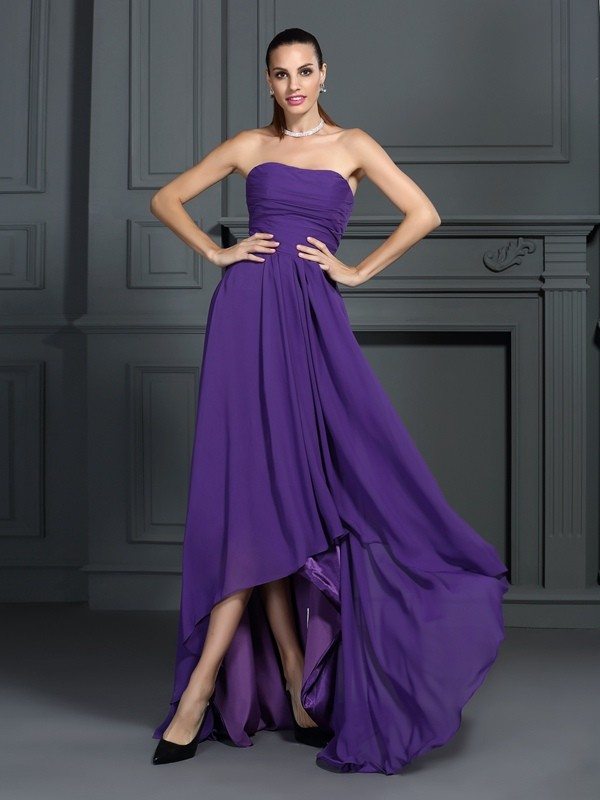 Delicate A-Line Strapless Cut Chiffon High Low Dresses With Pleats