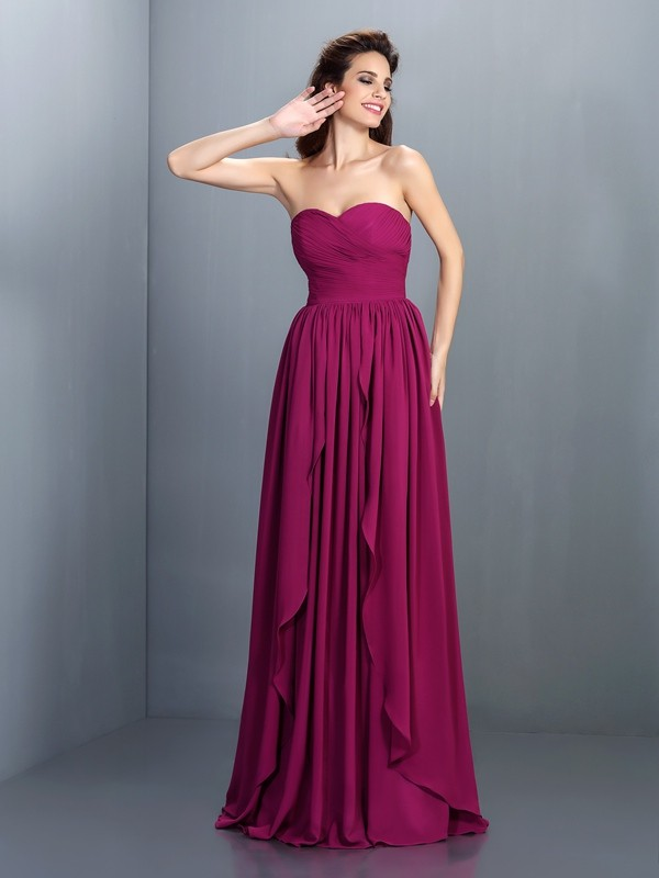 Dreamlike A-Line Sweetheart Cut Chiffon Long Dresses With Pleats
