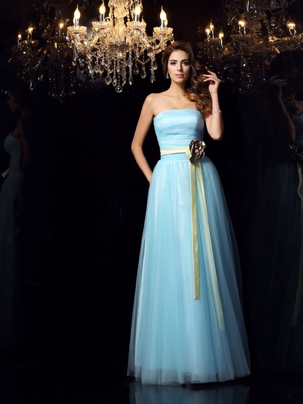 Romantic Ball Gown Strapless Cut Satin Long Dresses With Sash/Ribbon/Belt